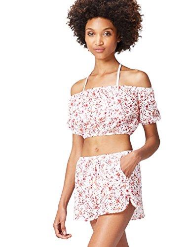 Amazon-Marke: find. Damen Carmen-Bluse mit Lochverzierungen, Mehrfarbig (Ivory/orange Print), 38, Label: M