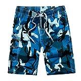 Pantalones Cortos Hombre Verano 2019 Nuevo SHOBDW Tallas Grandes Pantalones de Playa Bañador Cordón Suelto Pantalones Hombre Camuflaje Casual Pantalones Cortos Hombre Deporte(Azul,3XL)