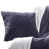 Tache Steel Navy Blue Diamond Trellis Pattern Super Soft Faux Fur Decorative Throw Pillow Cover Euro Sham, 26x26