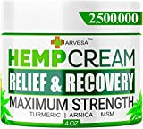 Hemp Cream - 2,500,000 - Relieve Muscle, Joint, Foot & Back with Hemp + Turmeric + Arnica | Natural Hemp Oil Extract Gel - Made in USA - 4oz