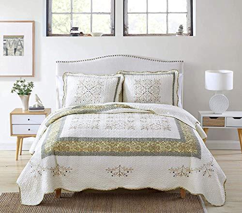 Alice 3-teiliges vorgewaschenes Bettwäsche-Set aus Baumwolle, bestickt, Blumenmuster, gesteppt, gesteppt, mit Blumenstickerei, Kingsize, cremefarben