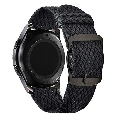 Pulseira 22mm Nylon Militar Trançada compatível com Galaxy Watch 3 45mm - Galaxy Watch 46mm - Gear S3 Frontier - Amazfit GTR 47mm - Amazfit GTR 2 - Marca LTIMPORTS (Preto)