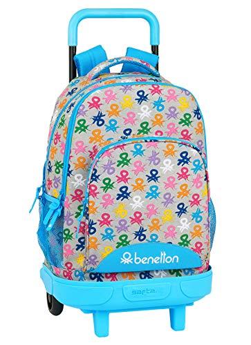 Safta Mochila Escolar con Carro Incluido y Espalada Acolchada de Benetton, Multicolor (Logo)