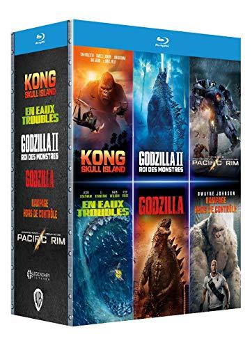 Coffret Godzilla : Roi des Monstres + Kong : Skull Island + Rampage-Hors de contrôle + en eaux Troubles + Pacific Rim [Blu-Ray]