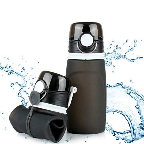 TROIKA Botella de silicona plegable | Capacidad: 550 ml | Enrollable y antigoteo | Para deportes al aire libre, escuela y camping | Sin BPA | Silicona de grado médico | Color: negro