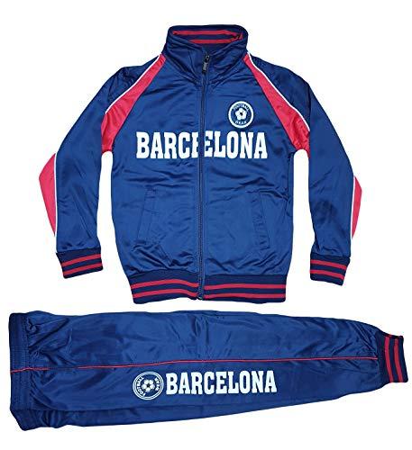 Style Kinder Jungen Mädchen Jogginganzug Trainingsanzug Sportanzug Hose Jacke Barcelona (Blau, 140 / 146)
