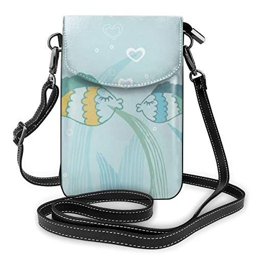 Fish Icon Kleine Crossbody-Tasche Casual Handtaschen Handy Geldbörse Schulter Geldbörse