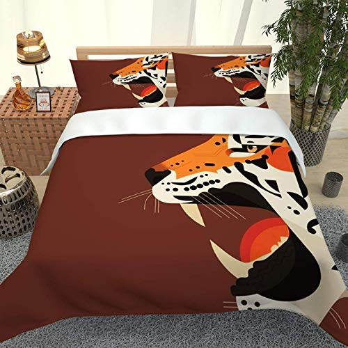 UDUVOG Bedding Set For Kids Adult 200X200Cm, 3D Printing Cartoon Animal Tiger Duvet Cover, 1 Soft Microfiber Duvet Cover And 2 Pillowcases, 3 Piece Set Suitable For Single And Double Bedding