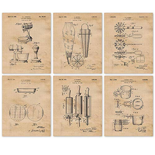 Vintage Baking Patent Poster Prints, Set of 6 (8x10) Unframed Photos, Great Wall Art Decor Gifts Under 20 for Home, Office, Studio, Kitchen, Shop, Student, Teacher, Chef, Cook & Cullinary Fan