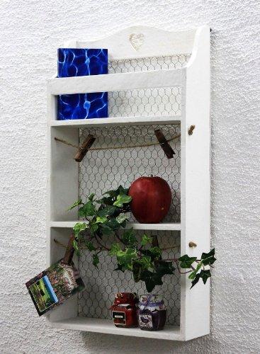 DanDiBo Wandregal mit Herz 12043 Regal 57 cm Vintage Shabby Landhaus Küchenregal Weiß