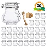 Spice Jars, 30 Pack 3.5oz Pumpkin Shaped Glass Jars with Leak Proof Rubber Gasket & Hinged Lid,Small Glass Containers with Airtight Lids for Home, Party Favors, and Gifts