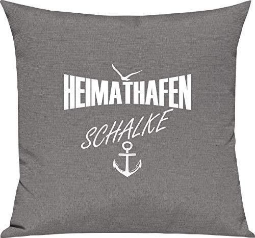 Shirtstown Sofa Kissen, Heimathafen Schalke, Kuschel Deko Spruch Sprüche, Farbe Grau