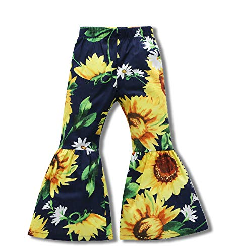 Little Kids Baby Girls Summer Floral Print Long Pants Sun Flower Bell-Bottomed Pants Trousers Outfit Black