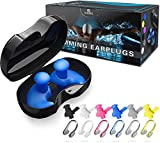 Swimming Ear Plugs, 6 Pairs Reusable Silicone Ear Plugs with 6 Pairs Nose Clips, Professional Waterproof Fit Ergonomics Gel Ear Protection for Adults and Kids, for Showering Bathing Surfing Snorkeling