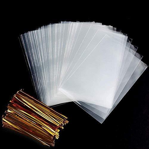 Faburo 200pcs Cellophantüten Klar 8x12cm Süßigkeiten Tütchen Transparent mit 200 Metallischen Bindebaender für Süßigkeiten Mitgebsel Kindergeburtstag Gastgeschenke 8x12 cm