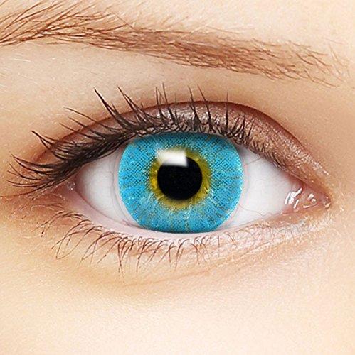 Farbige blaue Kontaktlinsen 'Intense Sapphire' +Behälter für DUNKLE und HELLE Augen ohne und mit Stärke
