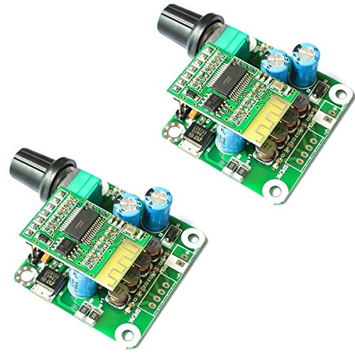 Youmile 2Pack Tarjeta amplificador potencia audio 15w + 15W Bluetooth 4.2 TPA3110 Módulo de placa de amplificador de potencia de audio estéreo digital 12V-24V coche para altavoz USB, altavoz portátil