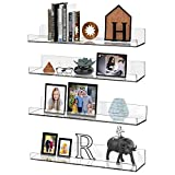 4 Pack 15' Floating Shelves Clear Acrylic Wall Mounted Storage Organizer Ledge Shelf, Thickened Invisible Plastic Display, Bookshelf, Toys Figure Display for Bedroom/Living Room/Bathroom-Easy to Mount