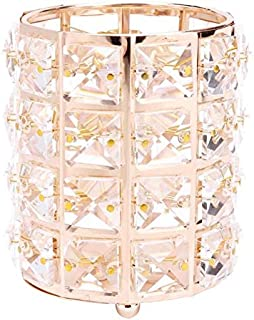 European Glitter Metal Crystal Pencil Pen Holer Brush Storage Tube Desk Organizer Stationery Container Office Accessories ...