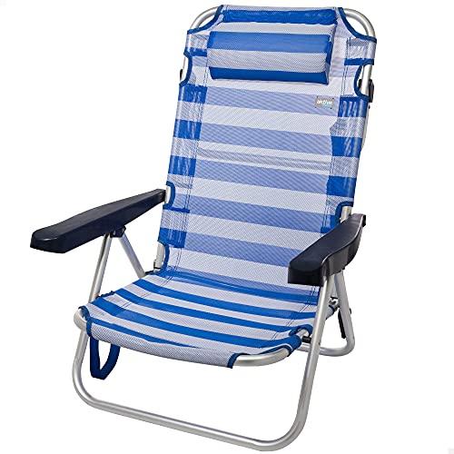 Aktive 53955 - Silla plegable playa, con cojín, Silla multiposición, 5 posiciones, 60x47x83 cm, altura del asiento 21 cm, soporta 100 kg, color azul y blanco, Aktive Beach