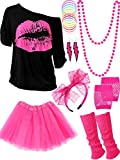 80s Costume Accessories Set T-Shirt Tutu Headband Earring Necklace Leg Warmers (X-Large, Rose Red)