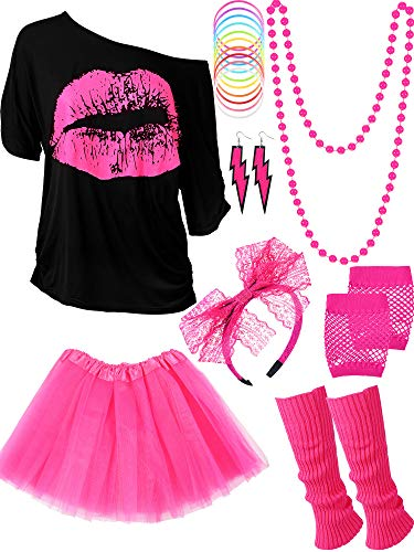 80s Costume Accessories Set, T-Shirt Tutu Headband Earring Necklace Leg Warmers (Large, Rose Red)