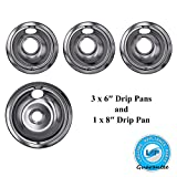 Lifetime Appliance Ultra Durable W10196405, W10196406 Chrome Drip Pans Replacement Compatible with Range Kleen...