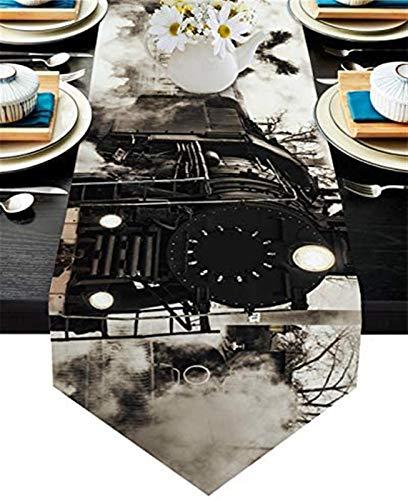 VJRQM Camino de mesa de comedor,bufandas antideslizantes resistentes al calor,para cocina,comedor,vacaciones,cumpleaños,fiestas,banquetes,trenes rústicos y antiguos de vapor gris retro,33 x 177 cm