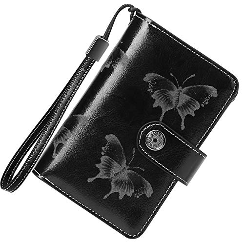 TEUEN Ladies Leather Wallet RFID Blocking Women's Wallet with Wrist...