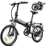 """ANCHEER 20"""" Bicicletta elettrica pieghevole Mountain bike E-Bike Batteria al litio rimovibile 36V / 8AH Shimano 7 velocità Maniglia e sedile regolabili 3 modalità di guida Carico massimo: 120 kg Nero"""