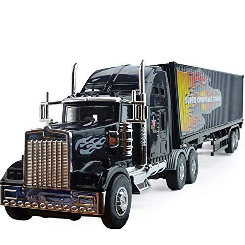 Xolye American Container Truck Model Children's Inertia Transporter Toy Car 3-8 Year Old Boy Toy Car Gift Large Trailer Semi-Trailer Truck Toy
