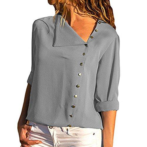 TEBAISE 2018 Ausverkauf Frauen Büro Oktoberfest Party offenen Kragen Elegante Formale Casual Revers Neck T-Shirt Damen Langarm Schnalle Bluse Tops Grau 44 DE/M CN