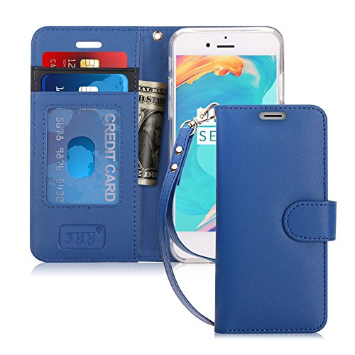 FYY Case for iPhone 6S / iPhone 6 (4.7'), [Kickstand Feature] Luxury PU Leather Wallet Case Flip Folio Cover with [Card Slots] [Wrist Strap] for iPhone 6S (4.7')(2015) /iPhone 6 (4.7')(2014) Navy