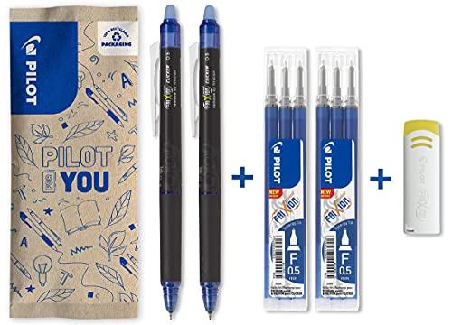 Pilot – Lote de 2 bolígrafos FriXion Point Clicker 0,5 – Bolígrafo borrable y retráctil – 2 azules + 2 juegos de 3 recambios azules + goma – Punta fina