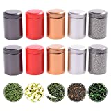 TXIN 10 Pcs Mini Tea Storage Containers, Metal Tea Canister Stackable Tea Tin Cans, Small Seal Airtight Tea Jar with Lid, Coffee Sugar Tiny Loose Leaf Tea Storage Containers Kitchen Food Canisters