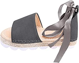GreatestPAK Poisson d/ét/é Bouche Respirante Plage Sandales en Daim Romain Boucle Muffin Chaussures d/écontract/ées Espadrilles Sandales Compens/ées Femme