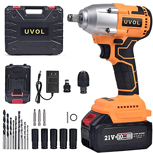 UVOL 21V Cordless Impact Wrench with toolbox, 1/2 Inch Chuck, Brushless Motor Driver/Drill with Infinitely Variable Speed Control, 17pcs Sockets, Driver Bits & Screw Drivers, Battery & Charger (XED)