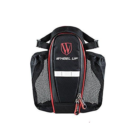 Fahrrad Satteltasche, Wasserdicht Fahrrad Seat Bag Packung mit Doppel Flasche Tasche Fahrrad Tail Pack mit Reflektierenden Streifen für Outdoor Radfahren Reiten Sicherheit