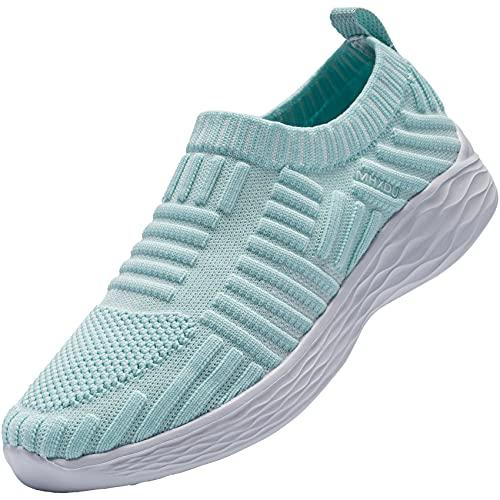 MHXDU Donna Sport Leggero Mesh Scarpe da Passeggio Casual - Traspirante Indoor Walking Yoga Casual Sneakers 36-42(42 Verde)
