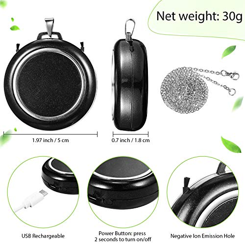 Mudder-2-Pieces-Mini-Portable-Air-Freshener-Personal-Wearable-Air-Purifier-Necklace-Air-Cleaner-for-Small-Space-Air-Freshener-Smoke-Remover-for-Adult-Kids-Black-and-White