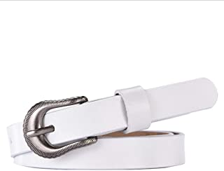 LUKEEXIN Leather Belt for Pants Dress Jeans Waist Belt with Alloy Buckle (Color : White)