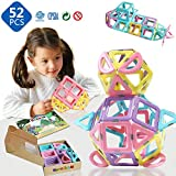 MAGBLOCK Magnetic 3D Magnet Toys 52 Pieces Set for Toddlers Boys Girls Gift Magnetic Building Blocks with Candy Color Toys