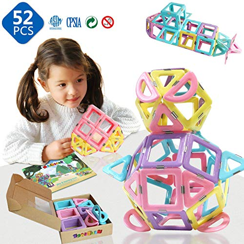 Magnetic 3D Magnet Toys 52 Pieces Set for Toddlers Boys Girls Gift Magnetic Building Blocks with Candy Color Toys