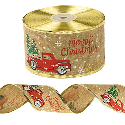LaRibbons Wired Edge Holiday Ribbon - Burlap Vintage Truck with Christmas Tree Printed Ribbon - 2.5 inch x 25 Yard Each Roll - Gold Wired Edge