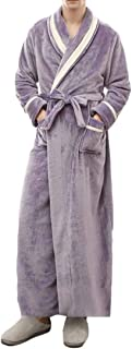 Macondoo Mens Bathrobe Homewear Lounge Fleece Color Block Warm Winter Robe