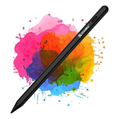 CoolReall Stylus Stifte für iPad 2018-2021, Kompatibel mit iPad 8&6&7th/iPad Air 4&3rd/Mini 5th/iPad Pro 11&12.9, mit Palm-Abstoßung, Anti Rolling, Aktivem Akku, Austauschbarem Stift nid (Schwarz)