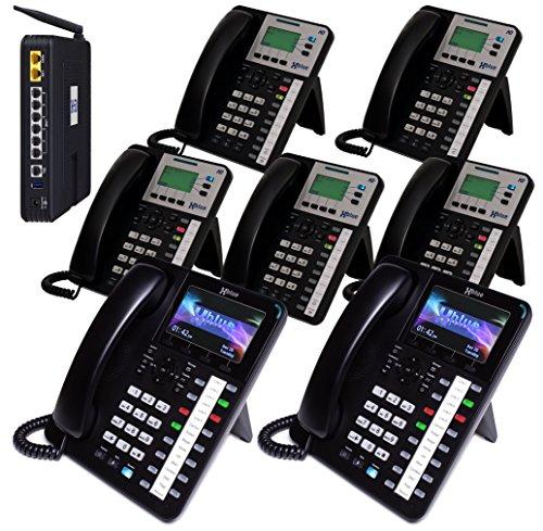 XBLUE X50 System Bundle with (7) Phones Includes (2) X4040 Vivid Color Display IP Phone & (5) X3030 IP Phones (X504235)