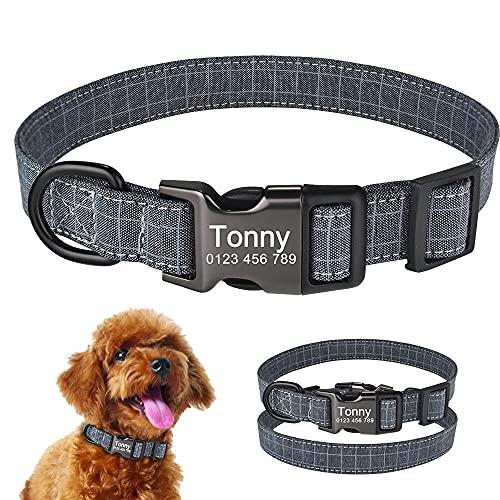 Collar Personalizado para Perro con Grabado Personalizado para Cachorro, Etiqueta con Nombre, Hebilla, Collar Gris SL-M_ (27-42_cm)