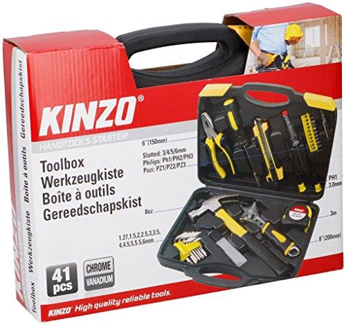 Kinzo 03415 Toolbox met 41 Gereedschap, Zwart en Geel, 29.5x6.5x23.8 cm