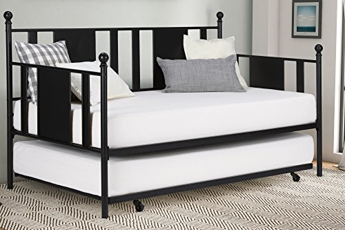 Daybed with Trundle/No Box Spring Required/Premium Sturdy Slats w/Rich Jet Black Finish/Modern Space...